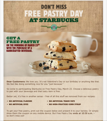 Free Pastry Day at Starbucks